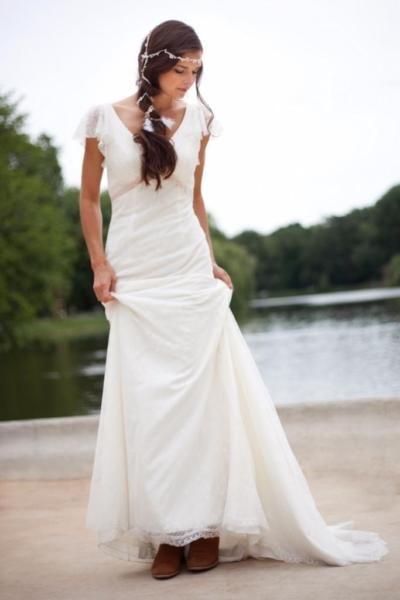 Brautkleid spitze langarm gebraucht