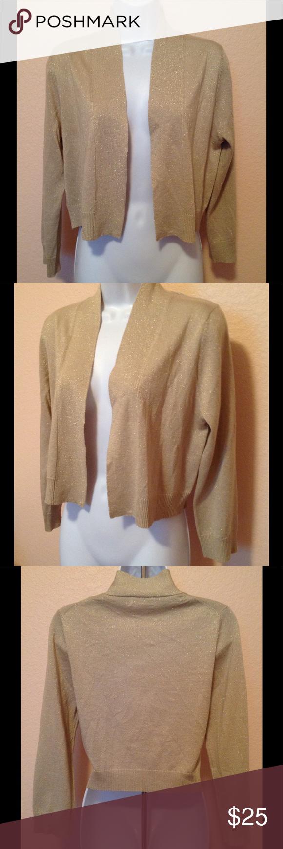 Calvin Klein Gold Shimmer Cropped Cardigan Medium | Stretchy ...