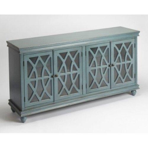 Vintage Blue Wood Cabinet Sideboard Fretwork Doors Blue