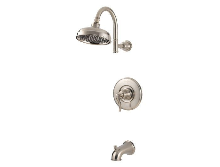 Pfister G89-8YP Ashfield Tub and Shower Faucet Valve Trim Pressure Balanced with Brushed Nickel Faucet Tub and Shower Single Handle