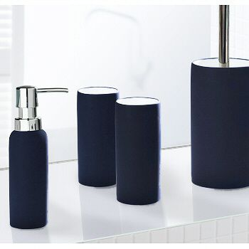 Unique Non Slip Coated Porcelain Bathroom Accessories Soap Dispenser Tumbler Or A Toilet Brush Blue Bathroom Blue Bathroom Accessories Bathroom Accessories