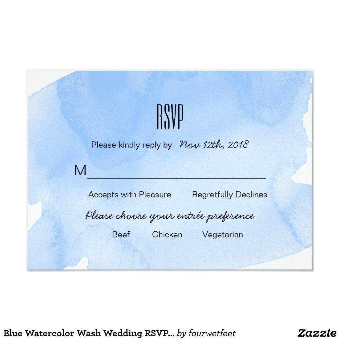 Blue Watercolor Wash Wedding RSVP Card