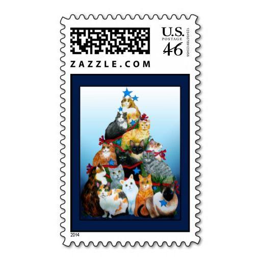 Christmas Tree Cats Postage Stamp