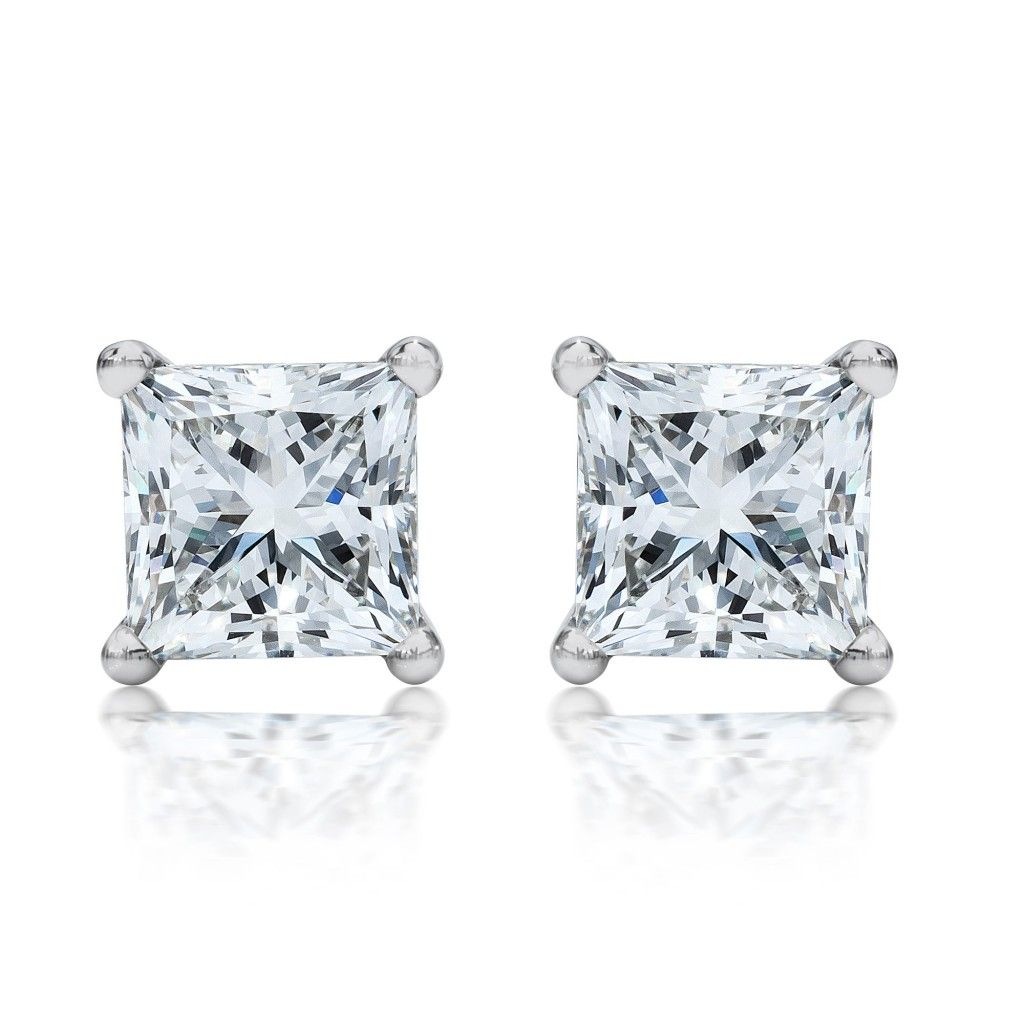 Princess Cut Diamond Stud Earrings 7