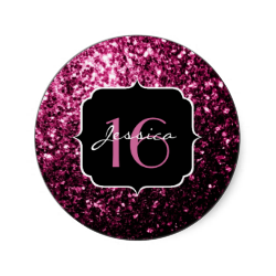 Beautiful Pink Glitter Sparkles Sweet 16 Classic Round Sticker Zazzle Com Pink Glitter Beautiful Pink Sweet 16 Invitations