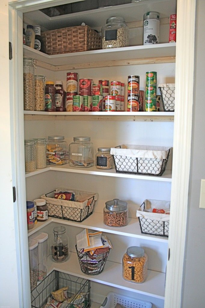 Diy new pantry shelving organization pinterest for Kitchen shelf ideas
