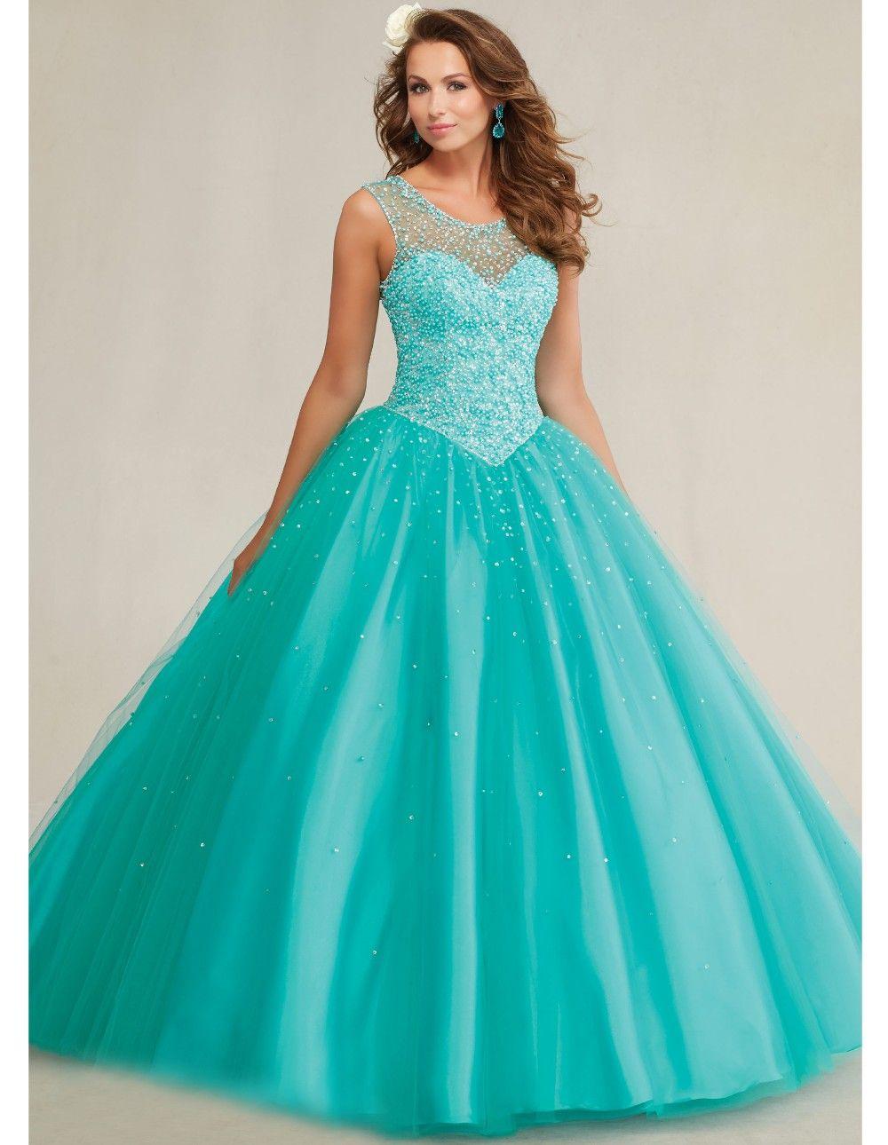 f6d4494b6e Aliexpress.com  Comprar Quinceanera 15 años vestidos de 15 años 2015 azul  del dulce 16 vestidos de la muchacha cristalina del partido de la mascarada  debut ...