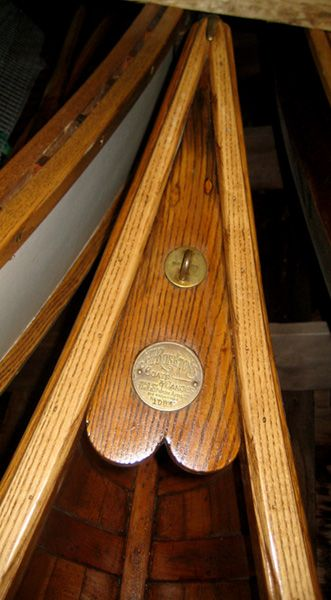 Deck Plate Of Old Wooden Canoe