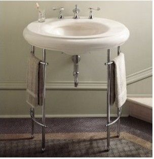 Kohler k 6860 metal table legs bathroom vanities and for Pedestal sink with metal legs