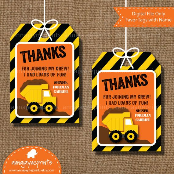 Construction Birthday Party Supplies Construction Theme Thank you Tags