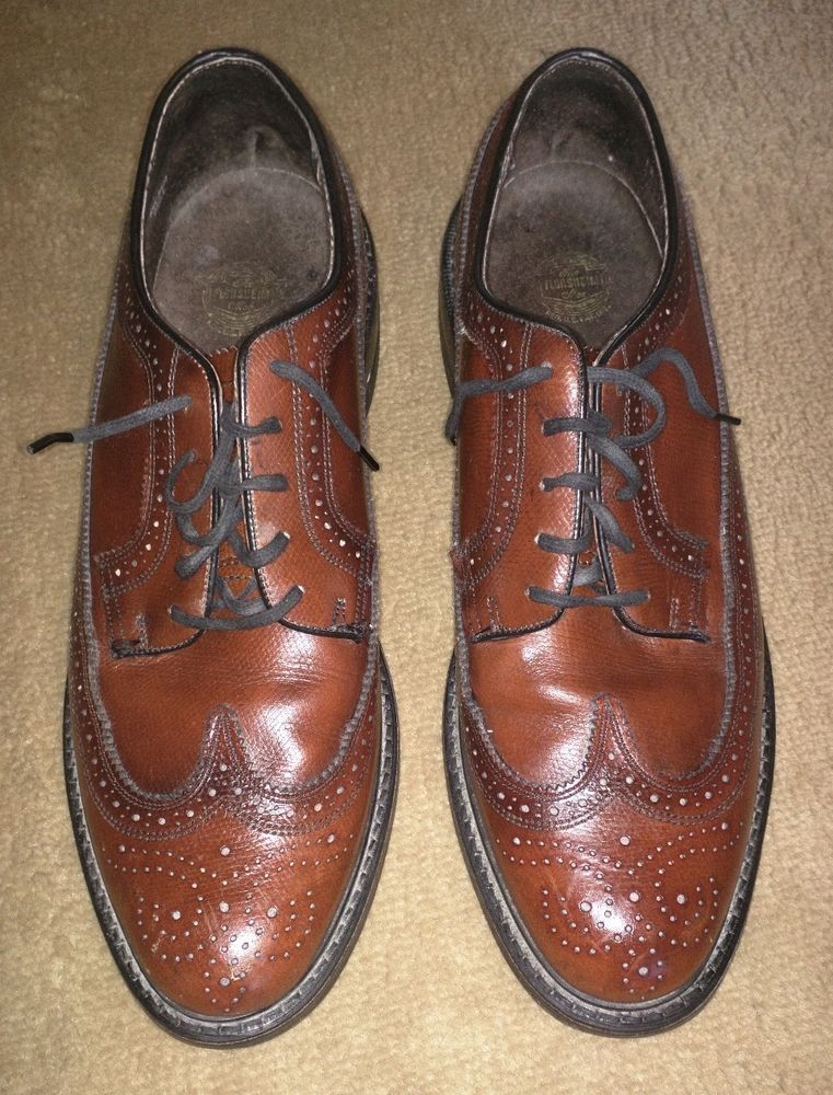 VTG Brown LEATHER Wingtips BROGUES 12 D LONGWING Man Made Dress Oxford Shoes