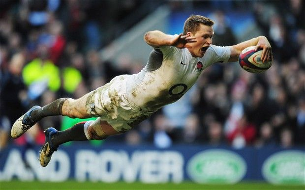 Chris Ashton of England dives over to score his team's eighth try try during the RBS 6 Nations Championship match between England and Italy...