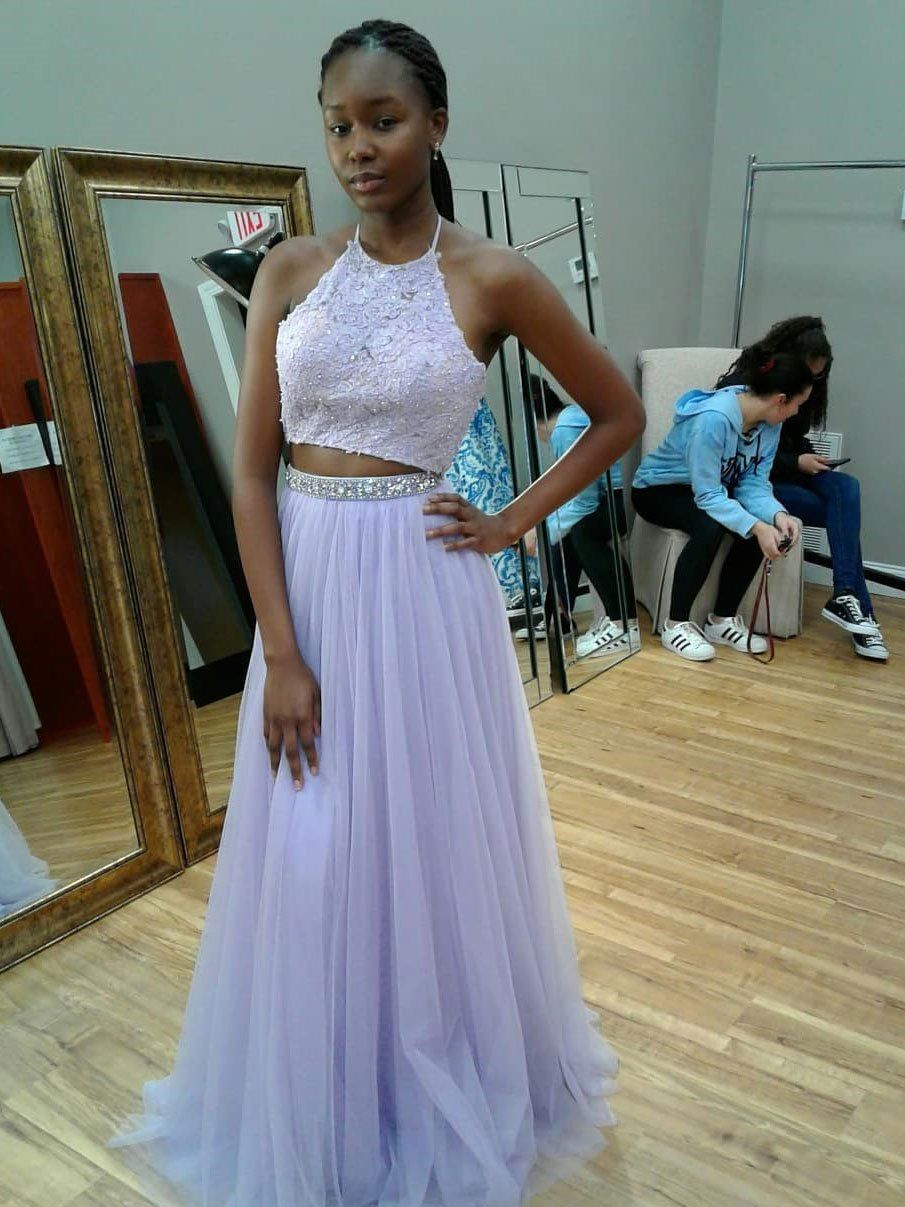 58c581a3a044 Two Piece Halter Lace Formal Evening Dress Lavender Backless Long Prom  Dresses APD3255