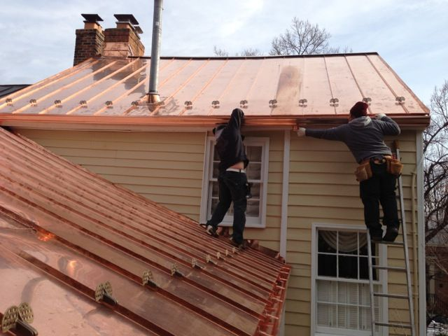 Copper Gutters On Standing Seam Copper Roof Copper Roof