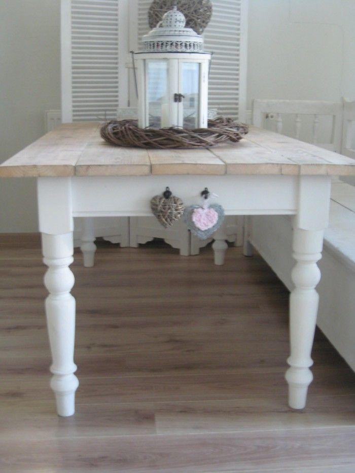 Landelijke tafel van licht stijgerhout interieur for Decoratie tafel landelijk