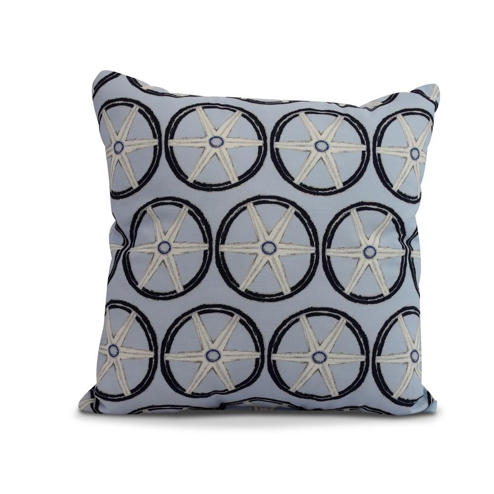 E By Design Nautical Blue Geometric 20 In X 20 In Throw Pillow