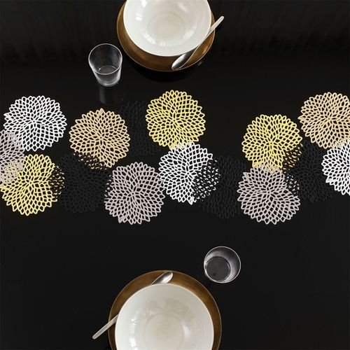 Chilewich Dahlia Silver Coasters (Set of 6) - Modern Coasters & Trivets