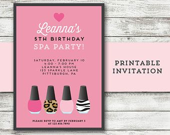 Spa party invitation Spa birthday invitation by Anietillustration
