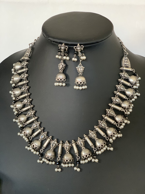 Kolhapuri Necklace German Silver Necklace,Oxidized Silver necklace Metal choker,Bollywood necklace choker