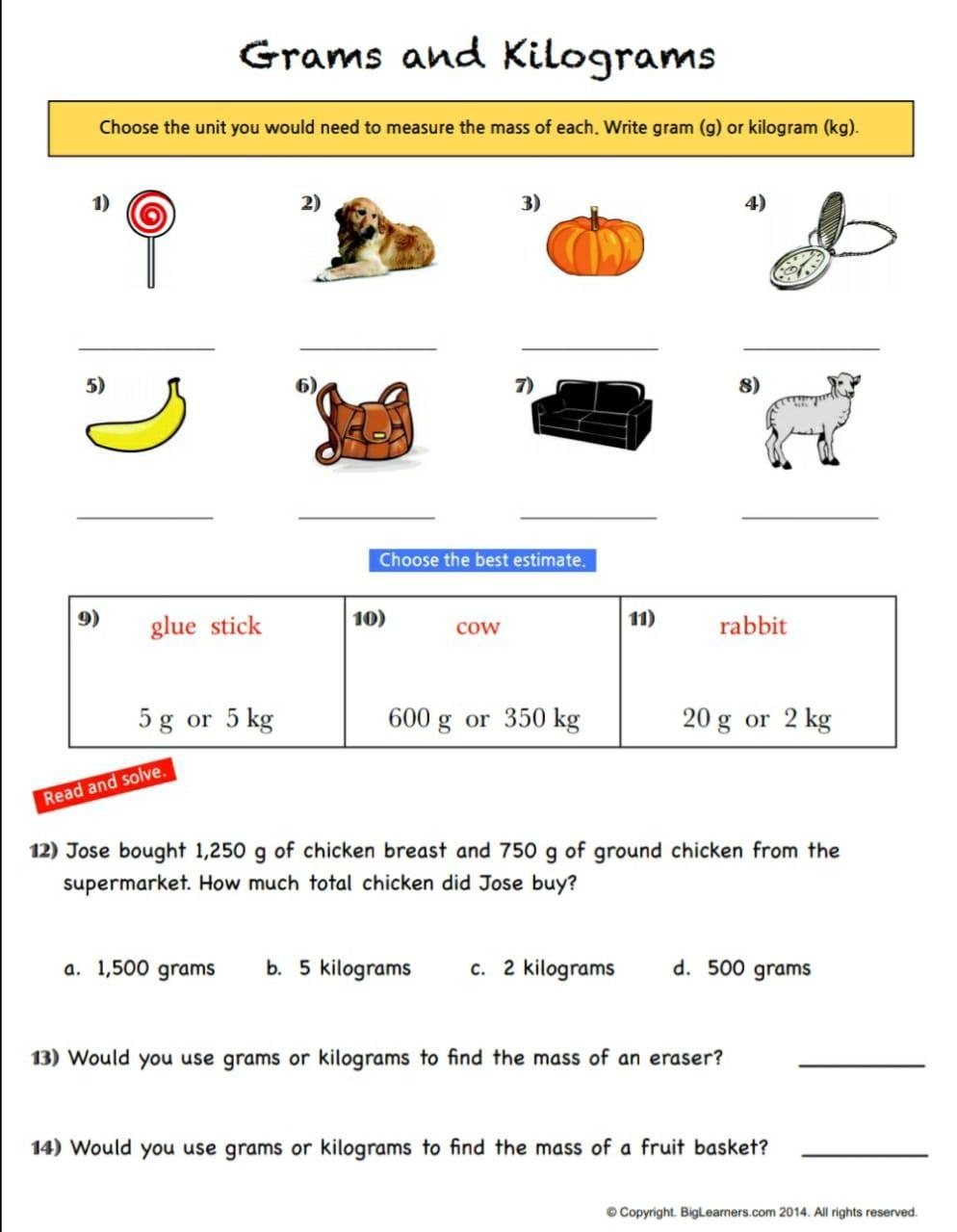 medium resolution of Grams and Kilograms   Math measurement activities