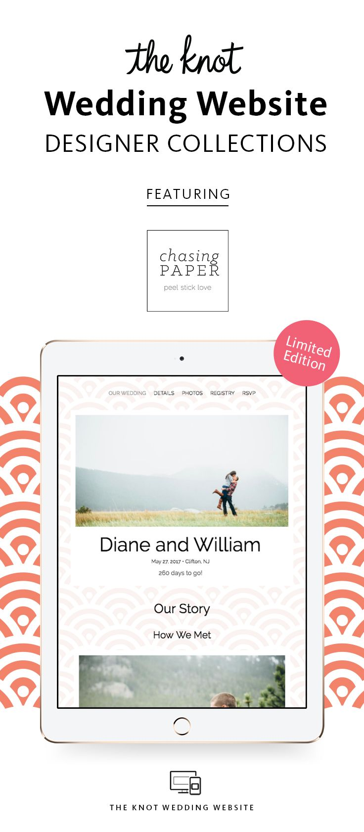 We Ve Teamed Up With Chasing Paper To Create A Wedding Website Template That Is Fresh Fun And I Wedding Website Wedding Website Free Wedding Website Template