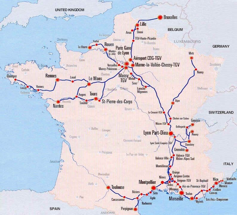 France Train Map of TGV high speed train system with the