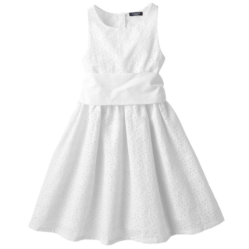 Chaps Eyelet Dress Girls 7 16 Eyelet Dress Dresses Girls Dresses [ 1000 x 1000 Pixel ]