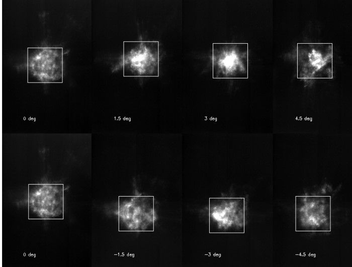 Polaris, the North Star, as observed by the ASTRI telescope prototype of CTA with different offsets from the optical axis of the telescope. (credit: Enrico Giro, Rodolfo Canestrari, Salvo Scuderi and Giorgia Sironi, INAF Padova, Brera and Catania)