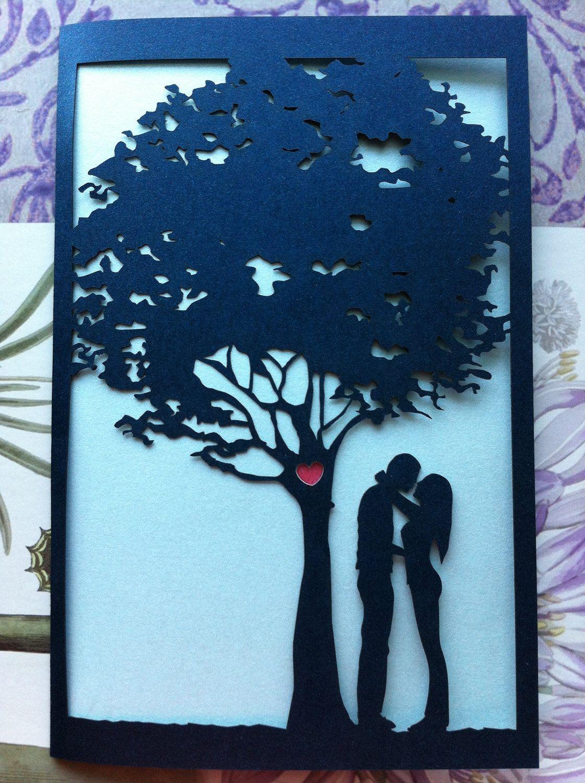 Laser Cut Wedding Invitation, Love Story Tree Invitation, Custom  Personalized