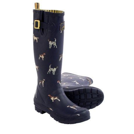 joules welly dogs print rain boots - waterproof (for women) in navy ...