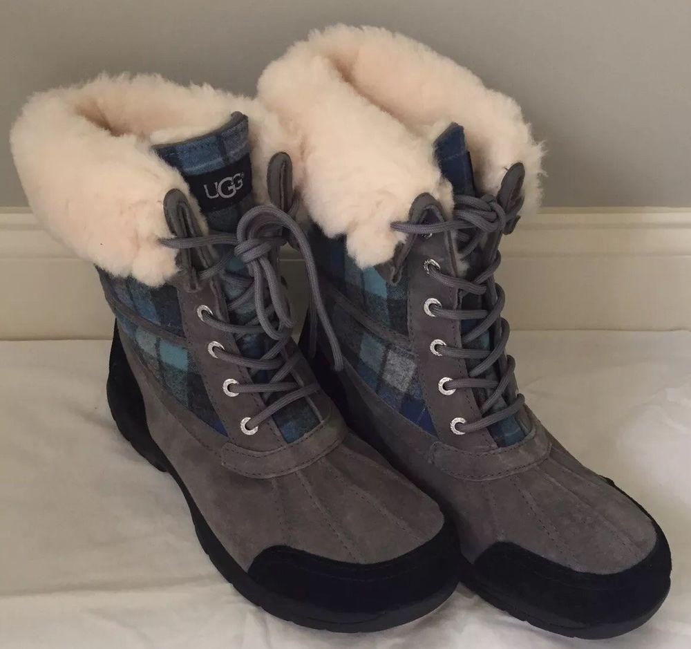6ef56d1a7b5 UGG Butte Blue Surf Plaid Waterproof Wool Lining Winter Boots ...