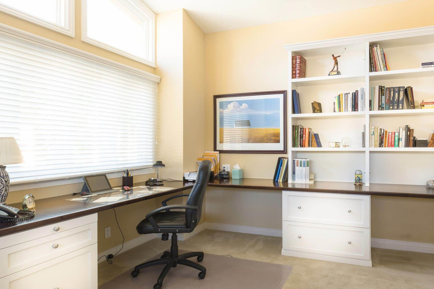Spacious Home Office With Large L Shaped Built In Desk Homeofficefurnitureikeaworkspaces Office Furniture Design Home Office Design Executive Office Decor
