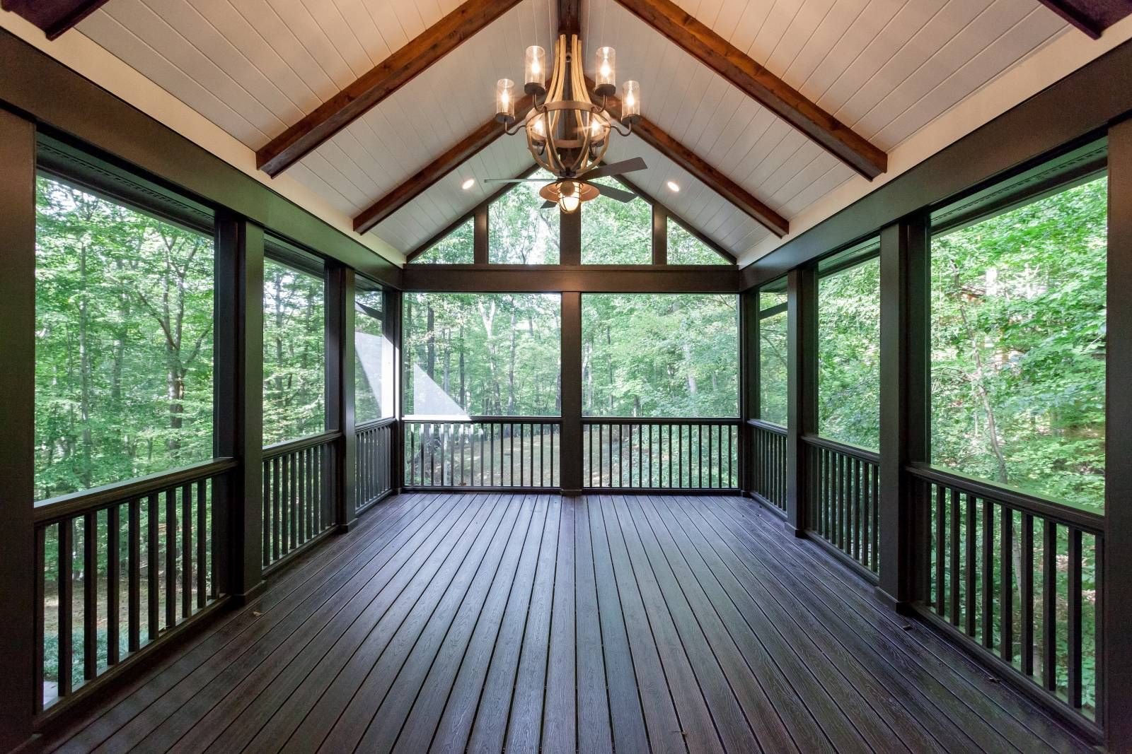 Vaulted Ceiling Screen Porch With White Painted Wood Ceiling And