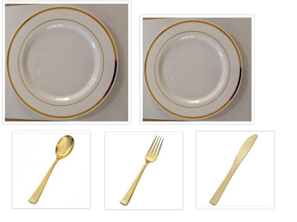 White W Gold Band China Like Plastic 10 Dinner Plates 7 Salad Plates Cutlery Party For 100 Plastic Plates Wedding Plastic Plates Gold Silverware