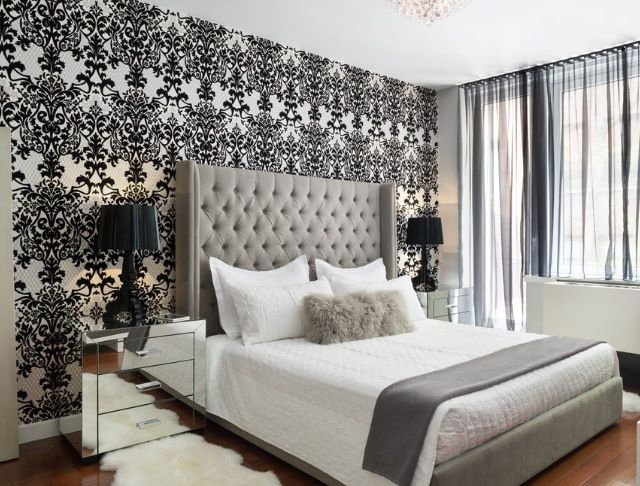 I like how they used the wallpaper as a feature wall in for Grey feature wallpaper bedroom