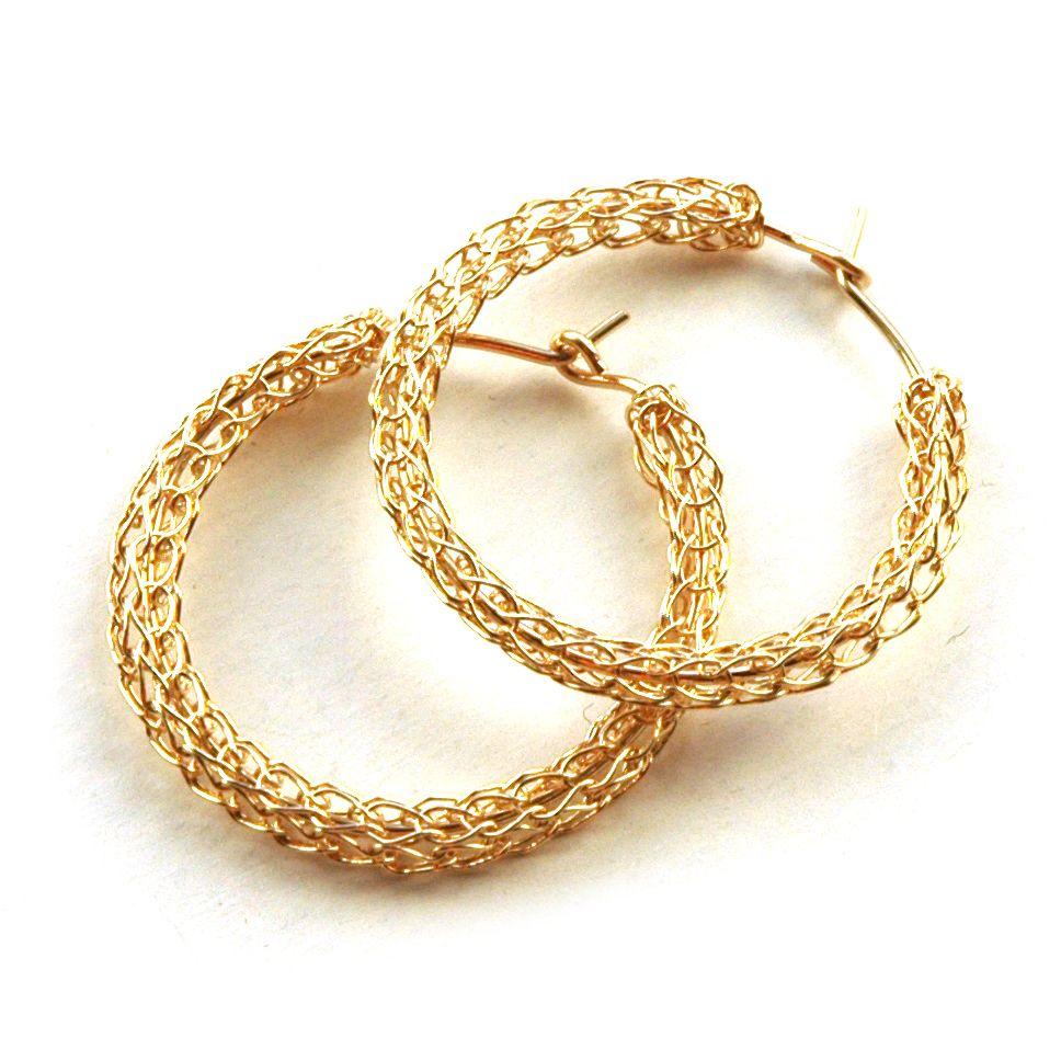 Gold hoop earrings , medium hoops | Wire crochet, Crochet and Box