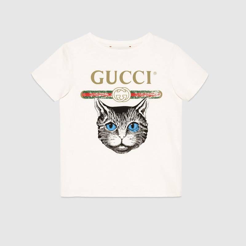 d91247fa5542ec T-shirt con logo Gucci e stampa Mystic Cat nel 2019 | cintura ...