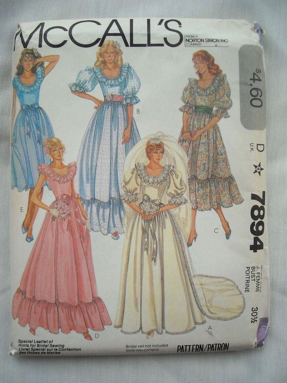 Vintage Wedding Dress Pattern Mccalls 7894 Princess Diana Bridal Sewing Patterns Wedding Dress Patterns Sewing Patterns [ jpg ]