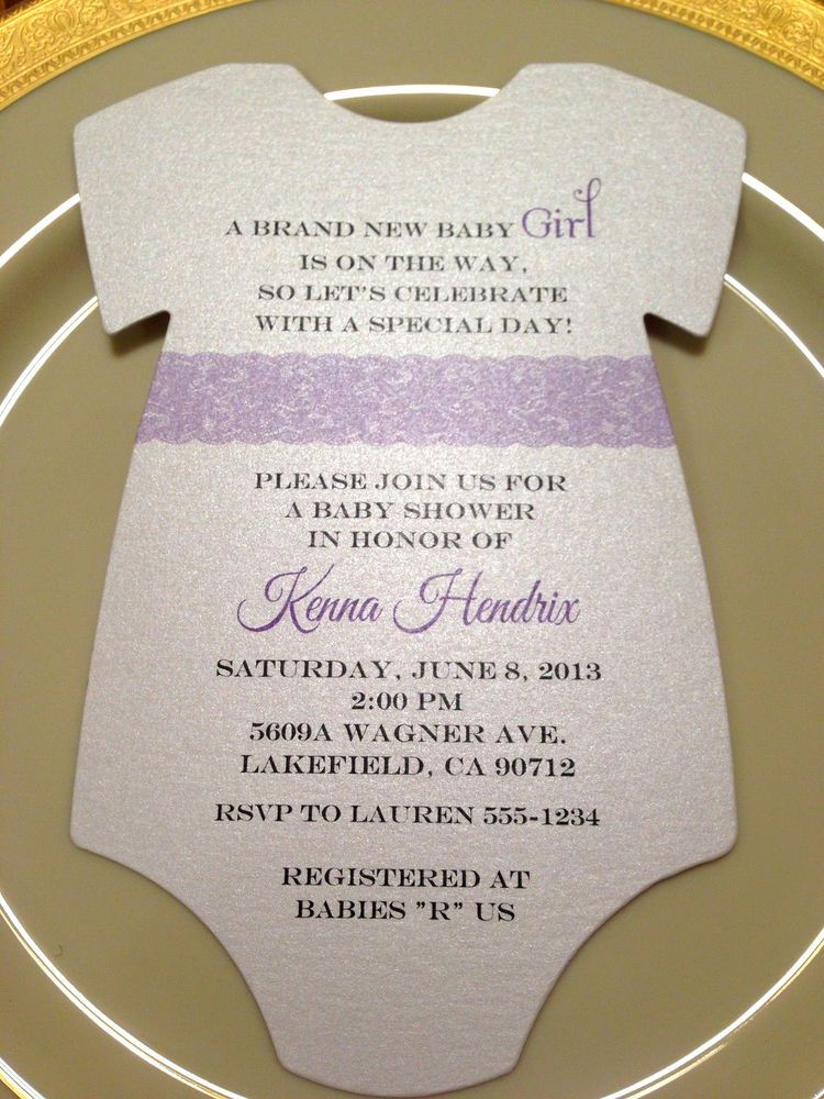 baby shower invitation onesie purple lace for girl printed on metallic paper babyshower