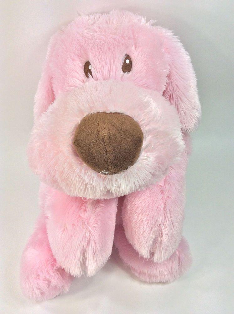 Babies R Us Pink Puppy Dog Brown Nose 28 Furry Plush Large Stuffed
