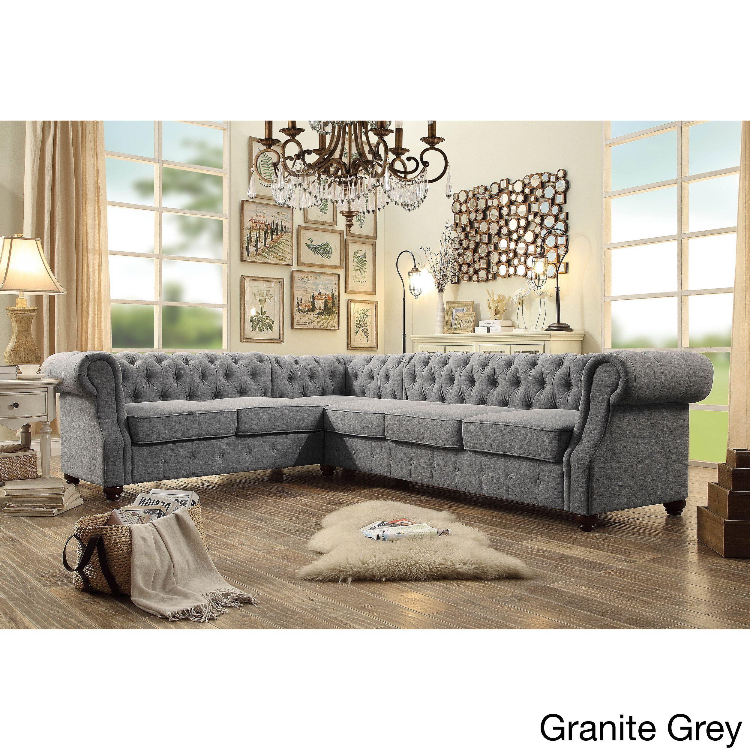 Moser Bay Furniture Olivia Tufted 6 Seat Sectional Sofa Granite Grey Linen