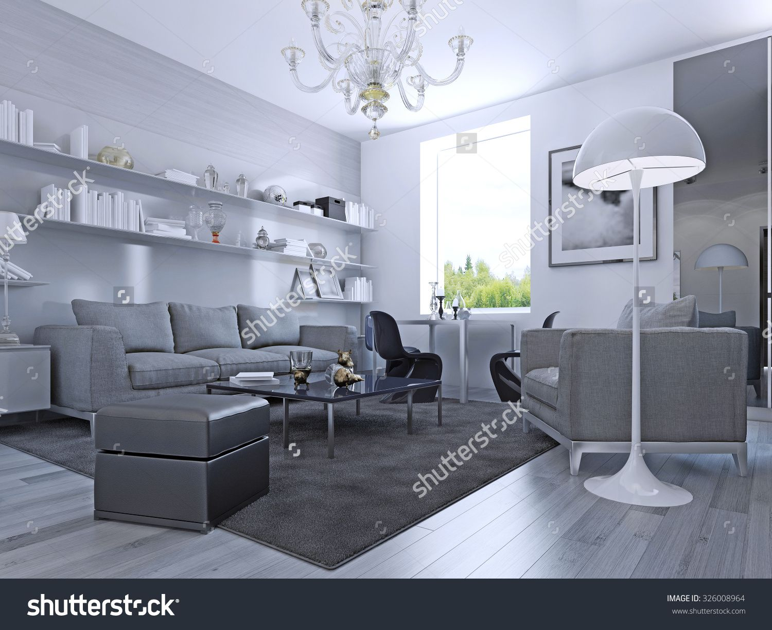 Living Room In Modern Style With White Walls And Awesome Pale Grey Laminate Flooring
