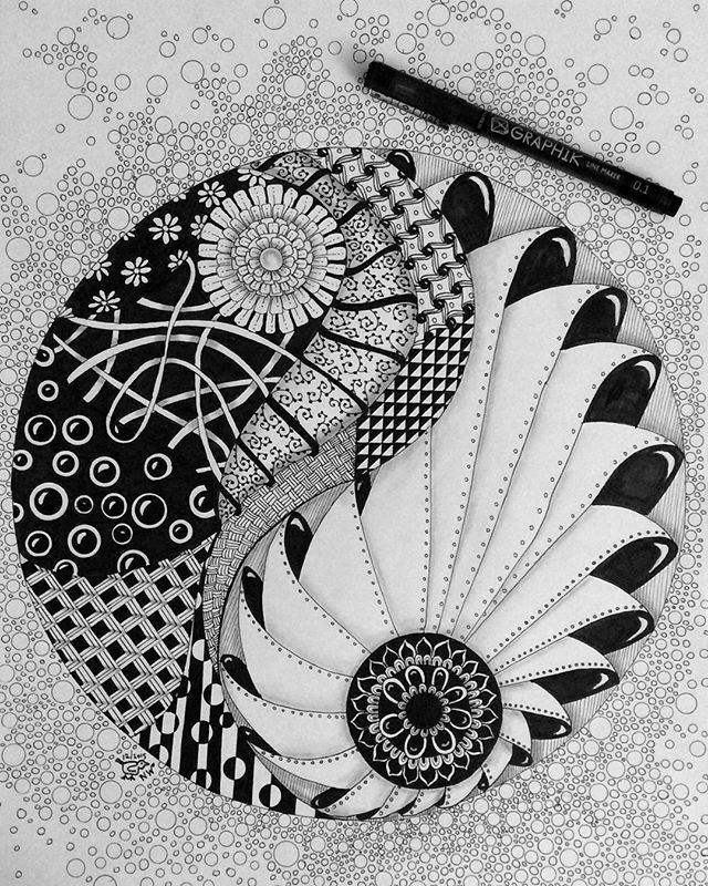 A Big One This Time Yin Yang Zentangle Zentangle Artwork