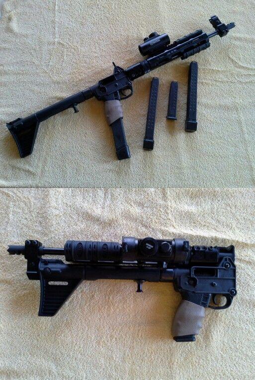 Kel-Tec Sub 2000  It takes any 9mm Glock mag that will fit in it  I
