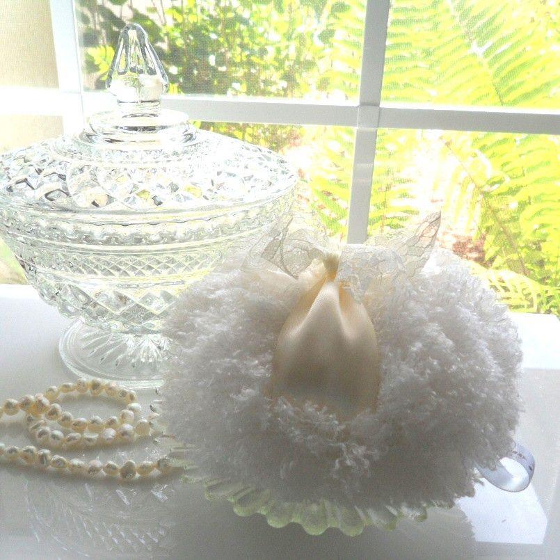 Powder Puff - soft creamy ivory and lace - winter white powderpuff - shaggy pouf - by Bonny Bubbles