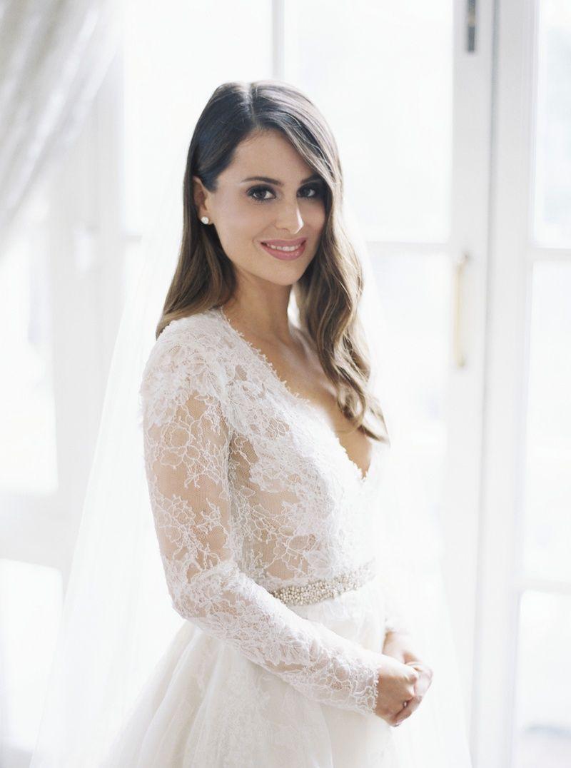 Bride In Monique Lhuillier Lace Long Sleeve A Line Gown Brunette