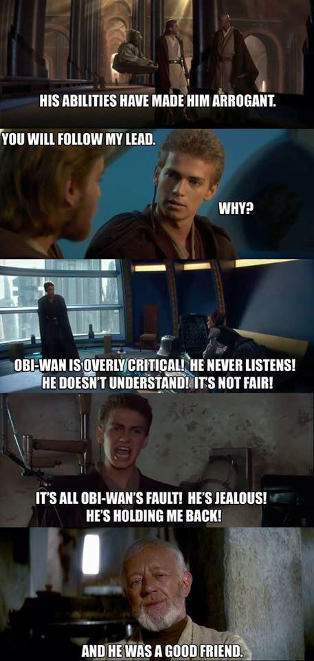 Obi Wan Kenobi And Anakin Skywalker Star Wars Humor Star Wars Memes Star Wars Geek