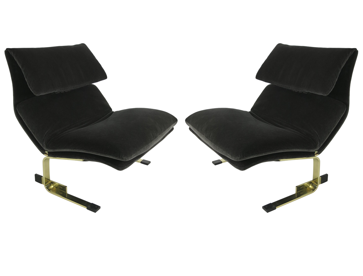 Saporiti Sessel Pair Of Bronze Onda Lounge Chairs By Saporiti Italia Chairs