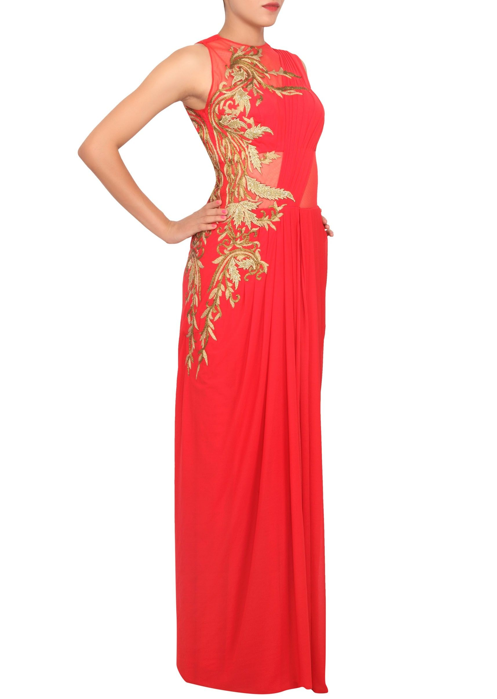 Scarlet red saree gown featured in Lycra. only on Kalki