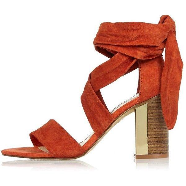 orange suede block heels